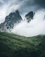 Eaten by the Clouds (noberson) Tags: clouds mist fog rain mountains mountain peaks peak green meadow alps dolomites dolomiti south tyrol nikon d750 landscape dramatic moody