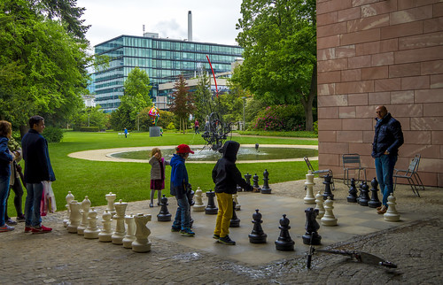 Giant Chess game players