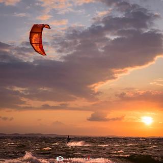 Kiting at sunset