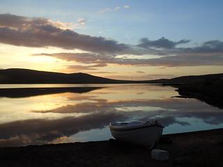 Sunset on Kirbister loch