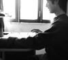 Tomi and Lotta (Andrés Luis Muñoz) Tags: son hijo study estudio estudiando alegría joy cat gato dedicación studying blackandwhite blancoynegro byn bn whiteandblack fujifilmfinepixx100 x100 fujifilm finepix backlight contraluz light monocromo luz indoor naturallight luznatural home fujix x100photographs