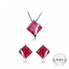 Wedding Red Stone Jewelry Set (worldwidejewerly) Tags: silver choker necklace world wide jewelry bridal set