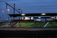Mechelen Railway Station # 1 (just.Luc) Tags: mechelen malines belgium belgië belgique belgien belgica station railway treinstation gareférovière bahnhof spoor track lights lichten lumières graffiti grafitti streetart evening avond soir abend voie