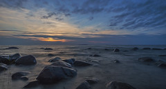 Windy Sea (Jyrki Liikanen) Tags: windy wind windchill sea seashore seaside seascape sealovers seanature stones stone rock longexposure sunset sunsetattheseashore bluesunset august waves wave water waterreflection waterscape gulfofbothnia horizon beach ocean sand sky landscape coast