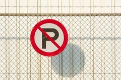 No parking VI (Jan van der Wolf) Tags: trafficsign fence hekwerk hek parkeerverbod verkeersbord red redandwhite rood redrule minimalistic white schaduw shadow shadowplay playoflines lijnenspel lijnen lines interplayoflines patroon pattern industrial map155186