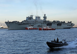Royal Navy LPH HMS Ocean (L12) arriving at HM Naval Base, Gibraltar for Operation RUMAN