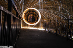 Steel / wire Wool Spinning (Rick Drew - 19 million views!) Tags: steel wire wool spinning fire hot sparks sparky orange spiral iron railing bridge circle ring