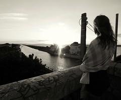 Lookin' Forward (JokeLandz) Tags: girl bnw blackandwhite sunset bicolore urban urbain