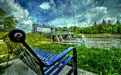 (DeZ - light painter) Tags: guelph canada bench waterdam sky texturelayer royalcitypark clouds summer hdr nikon nikond610 nikkor1424mmf28 dez