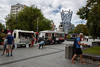 Waiting For Their Lunch (Jocey K) Tags: newzealand nikond750 southisland christchurch architecture sky clouds buildings cbd city people trees cathedralsquare foodvan sculpture demolition