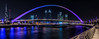 Blue Arch Bridge - Dubai (Lee Dolman) Tags: dubai bridge bluearch blue boardwalk canal watercanal dubaicitiscape skyline dubaiskyline burj burlkhalifa