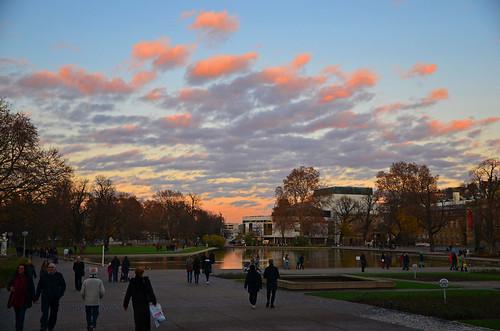 Sunset over Schlossgarten in Stuttgart