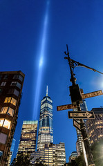 9/11/2017 - New York City Tribute in Light (Jeffrey Friedkin) Tags: jeffreyfriedkinphotography newyork nyc newyorkscene architecture buildings cityscene cityscape downtown evening famous iconic skyline lights manhattan street streetscene wtc worldtradecenter