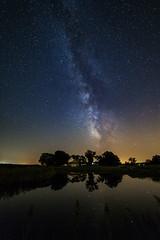 Night Fishing (PhotoJacko - Jackie Novak) Tags: milkyway lake stars nightscape reflections calm caonon6d rokinon14mmf28 astrophotography indiana milkywayformthemidwest longexposure