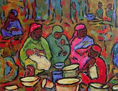Corine Vonaesch. Mercado africano (2006). Pintura acrílica