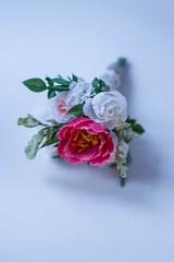 wedding bouquet for Barbie #1 (kinmegami) Tags: barbie madetomovebarbie miniatureflowers miniature bride bouquet rose peonies carnations