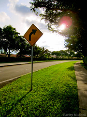 Right? (Harley Mitchell) Tags: turn right outside nature grass sun sunset street streetsign turnright path
