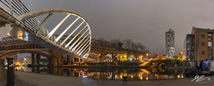 A Quiet Life (Tim van Zundert) Tags: panorama panoramic castlefield deansgate tower skyscraper manchestershipcanal canal water manchester greatermanchester northwestengland curve bridge architecture urban city cityscape skyline night evening longexposure sony a7r voigtlander 21mm ultron