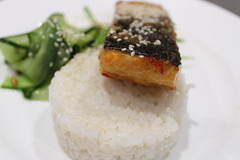 Miso and sesame salmon, coconut rice and pickled cucumber