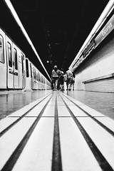 Black and White Lines (elgunto) Tags: subway metro barcelona people walk lines highcontrast blackwhite bw panasonic lumic dmccm1