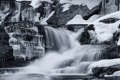 Fulmer Falls (William_Doyle) Tags: march 2017 ice nature water waterfall winter cold creek rocks stream river forest trees woods icy icicles snow icles black white dark light
