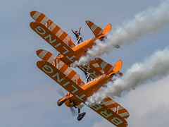 Brietling Wingwalkers - Old Warden (davepickettphotographer) Tags: theshuttleworthcollectionuk uk oldwarden biggleswade aviation aircraft airshow shuttleworthcollection collectionairshow airmuseum rare vintage edwardian pageant 2017 flight flying england brietlingteam wingwalkers girls wingwalking stearman boeing american trainer secondworldwar
