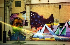 Magic on Milwaukee Ave, below Logan Square Park (//sarah) Tags: film minoltasrt100 chicago logansquare milwaukeeave streetart flare graffiti