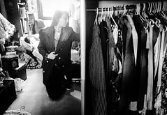 Cleaning out the closet (doubleshotblog) Tags: blackandwhite nevertoomuchclothes fashionlove half halves splitimage australia doubleshotblog doubleshot selfportrait sydney old cleaning clothes closet