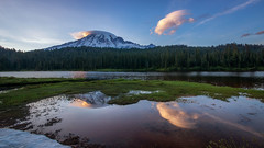 Sunset Reflection (writing with light 2422 (Not Pro)) Tags: reflections reflectionlakes mountrainiernationalpark mountrainier washingtonstate richborder sonya77 sigma1020mmlens landscape lake mountain clouds sunset