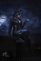 Steampunk Gotham Sirens: Ailiroy as Cat Woman: On the rooftops of Gotham (SpirosK photography) Tags: steampunk steampunkgothamsirens gothamsirens studio photoshoot victorian portrait strobist nikon d750 athens greece spiroskphotography spiroskphotographystudio cosplay costumeplay ailiroy catwoman rooftop composite gotham night clouds sky moon batsignal projector sitting