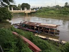 Bridge over Huai Luang in Phon Phisai 1 (SierraSunrise) Tags: boat boats bridge mekong mekongriver naga nongkhai phonphisai reflections rivers skies sky sunset thailand transportation water