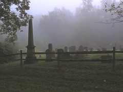 Foggy Dravo Cemetery (Trains & Trails) Tags: memorial marker grave tombstone graveyard cemetery evening foggy mist morning dawn creepy wooden fence greatalleghenypassage alleghenycounty dravo