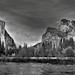 Standing on the Banks of the Merced River and Taking in an Amazing View of Mountain Peaks (Black & White, Yosemite National Park)