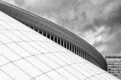 Philharmonie Luxembourg (laga2001) Tags: black white architecture concert hall building luxemburg bw roof city urban sky clouds geometry pattern structure monochrome