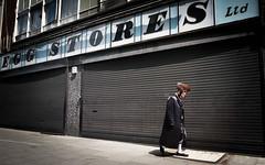 Egg Stores Ltd (XBeauPhoto) Tags: eggstores june2017 london n16 stokenewington xavierbeaumont furryhat jewish linear lines repetition shopfront shopsign shutters streetphotography urban