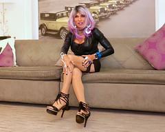 Cortney - Lavender and black vinyl (Cortney10100) Tags: cortney tv tg tgirl tgurl transgender heels highheels femme tranny trannie transsexual transvestite crossdress crossdresser stilettos domme leather thigh indoor nails people black vinyl purple
