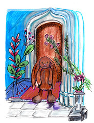 Bentley finds the front door to Limerick Resort (Collings and Company) Tags: bunny rabbit flickr art drawing