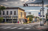 Railroad Crossing at Broad St. & Cedar Ave. (donnieking1811) Tags: tennessee cookeville railroadcrossing broadst cedarave buildings flags lights sky clouds hdr canon 60d lightroom photomatixpro thebestofhdr