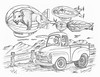 Surrounded (rod1691) Tags: bw scifi grey concept custom car retro space hotrod drawing pencil h2 hb original story fantasy funny tale automotive art illistration greyscale moonpies sketch