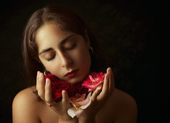 Shh...Peaceful (Giulia Valente) Tags: portrait portraits portraiture lowkey shadow light dark darkportrait alone peace calm romance romantic poem flowers rose beautiful beauty inspiring closed eyes