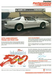 1989 Pontiac Trans Am 20th Anniversary Indy Pace Car (coconv) Tags: car cars vintage auto automobile vehicles vehicle autos photo photos photograph photographs automobiles antique picture pictures image images collectible old collectors classic ads ad advertisement postcard post card postcards advertising cards magazine flyer prestige brochure dealer 1989 pontiac trans am 20th anniversary indy pace 89 indianapolis 500 race muscle turbo v6 white special edition 43