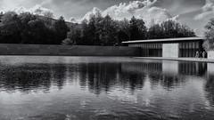 Across the lake (Tim Ravenscroft) Tags: lake reflections architecture clarkinstitute monochrome blackandwhite blackwhite hasselblad hasselbladx1d x1d