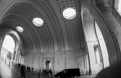 Ypres: Menin Gate (McFarlaneImaging) Tags: 17mm 2015 35mm 400 analog architecture bw belgium blackandwhite canon ceiling dilutionb europe eurotrip fd ftb film fisheyetakumar fisheye fromage greatwar hc110 homedeveloping iso400 iper kodak mci memorial meningate pentax remember road slr travel trix vacation ww1 wide worldwarone ypres mcfarlaneimagingcom