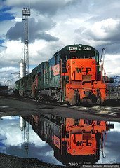 Reflecting on the Western Pacific Railroad (jamesbelmont) Tags: westernpacific railroad railway train locomotive ge u23b southsaltlake utah roperyard drgw riogrande
