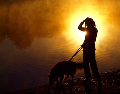 WOMAN WITH DOG  P8068769 (2) (hlh 1960) Tags: sun sunrise sonne sol soleil silhouette dog woman girl people golden hund wasser water leine nature germany outdoor august morning