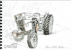 Marciac, le tracteur au camping à la ferme ; David Brown (Croctoo) Tags: croctoo croctoofr croquis aquarelle watercolor auto tracteur vélo marciac davidbrown