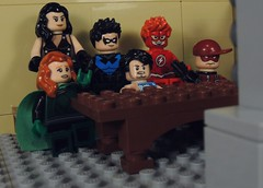 Movie Night (MrKjito) Tags: lego minifig super hero comic comics dc rebirth titans nightwing donna troy arsenal flash omen tempest teen team bonding