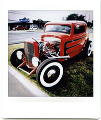 Red Rod (rustman) Tags: red white rod classic whitewalls stance scallops 3window 32ford coupe topnotch 20170805 hotrod custom drivein atx austin fuji fujifilm color digital instant sq10 square texaslife