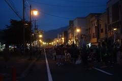 Summer Festival on the Road 2 (sjrankin) Tags: 5august2017 edited yubari hokkaido japan people yubarisummerfestival yubarinatsumatsuri shimizusawa night road lights sign