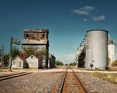 Tracks West (Pete Zarria) Tags: kansas santa fe railroad grain elevator coal sunshine sunflower ghost sign small town